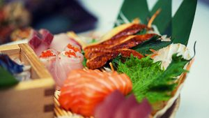 fresh sushi and sashimi selection